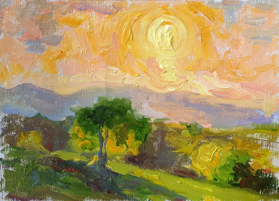 Sunset in Barboursville. oil on canvas
