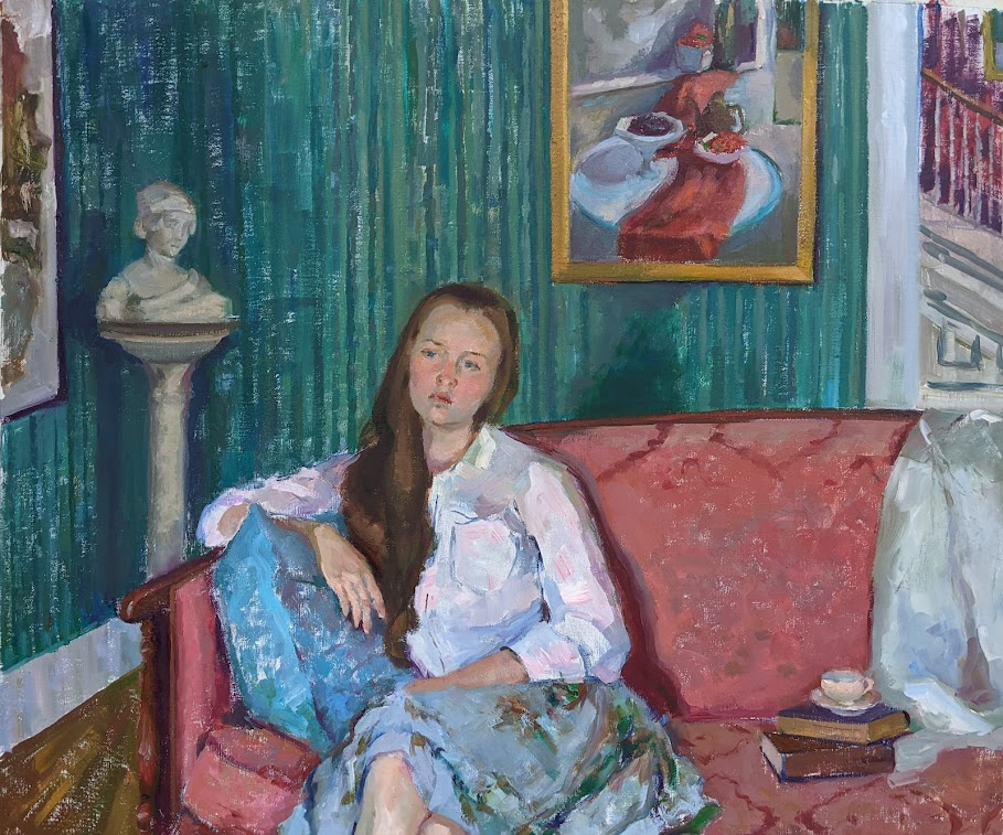Emma sitting on the pink couch. Oil on canvas