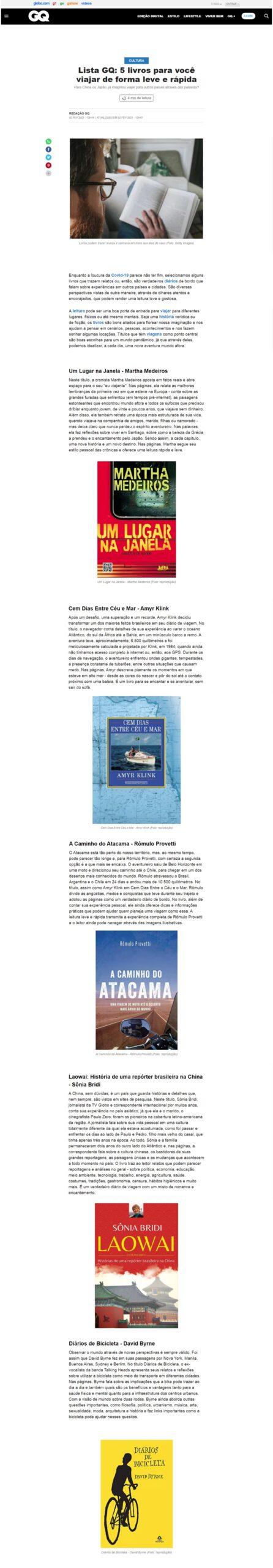 Lista GQ: 5 livros para você viajar de forma leve e rápida