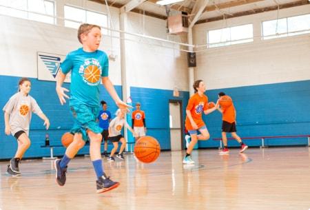 Basketball camp - kids running drills