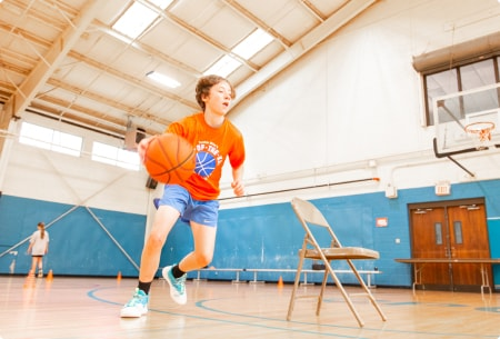 player performing a ball handling drill