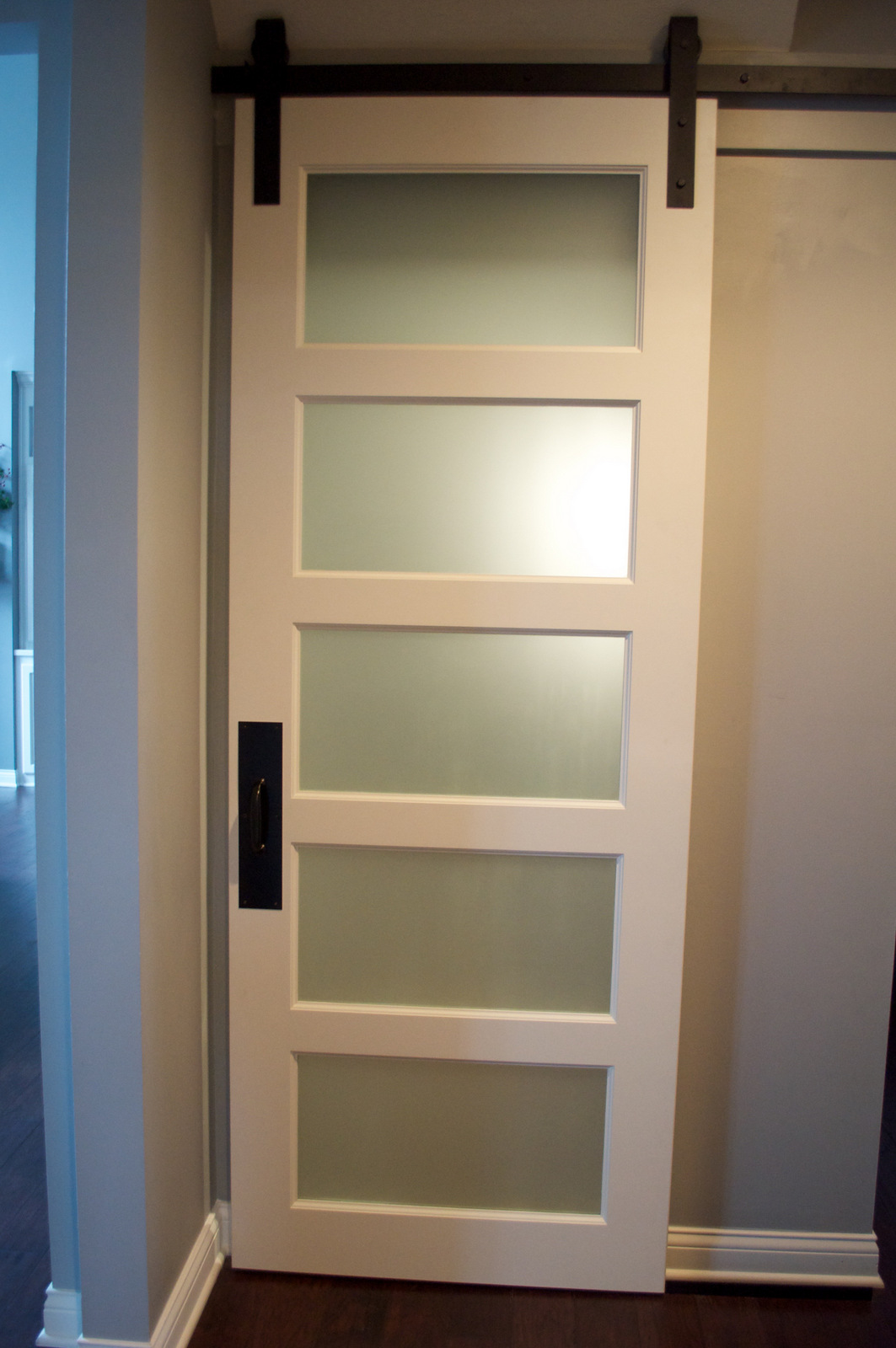 Frosted Glass 5-Panel Barn Door