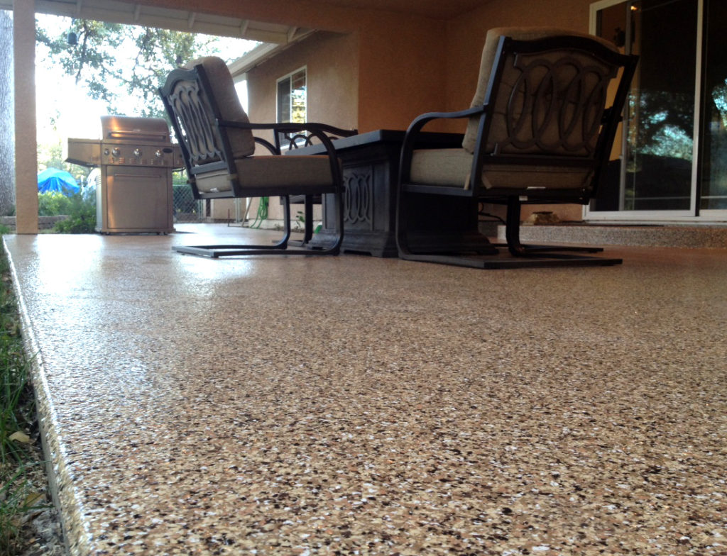 Not only is our Vinyl Chip System perfect for garage floor coatings - but is also an excellent base for outdoor patios and pool decks. This is a perfect solution for parents who want to increase the safety of their outdoor living environment. Our Vinyl Chip System enhances the grip and texture of your backyard living space and is durable in all UV exposed environments.
