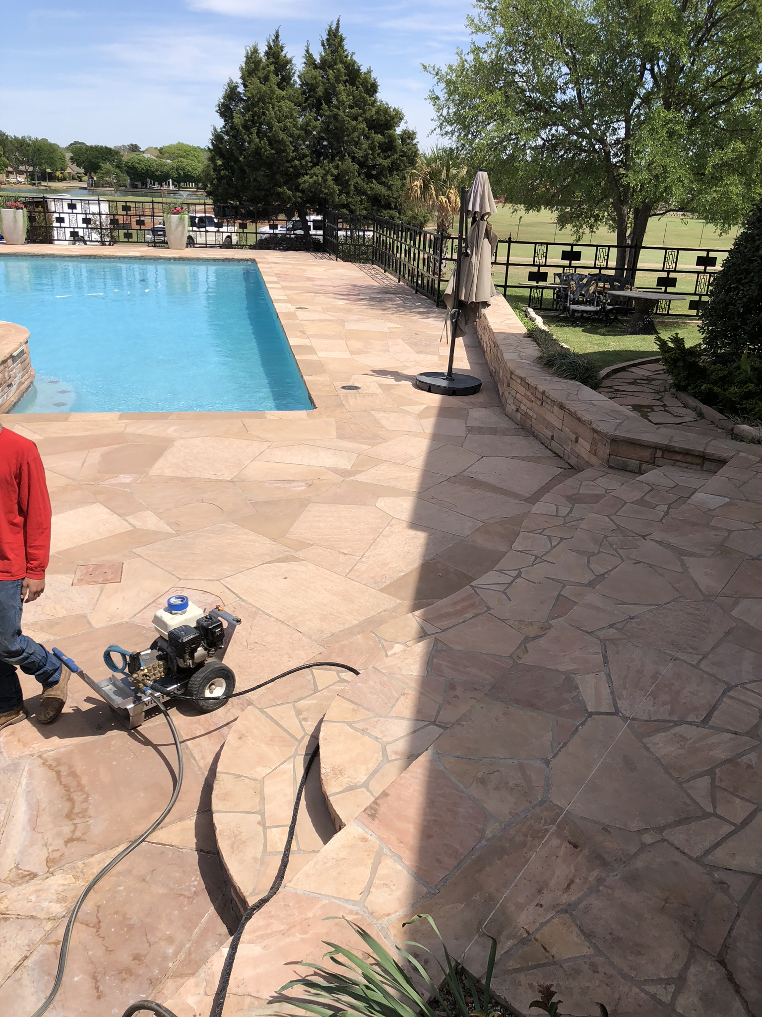 It took our team two days to install the Stone Armor product for over 6,000 Square Feet of Arizona Flagstone. That's an incredible pace for such a large surface area to install this product. At Advocate Construction, we care about doing the job quickly and efficiently.