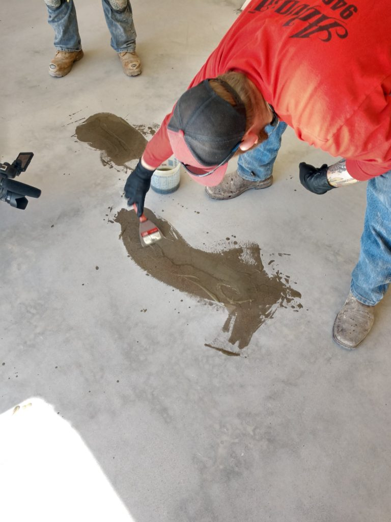 As part of our prepping stage, we carefully assess your garage floors to check for cracks or any signs of distress. Once all of the cracks have been identified, we apply a mixture of Silica Sand & a Mender to seal & repair the cracks.