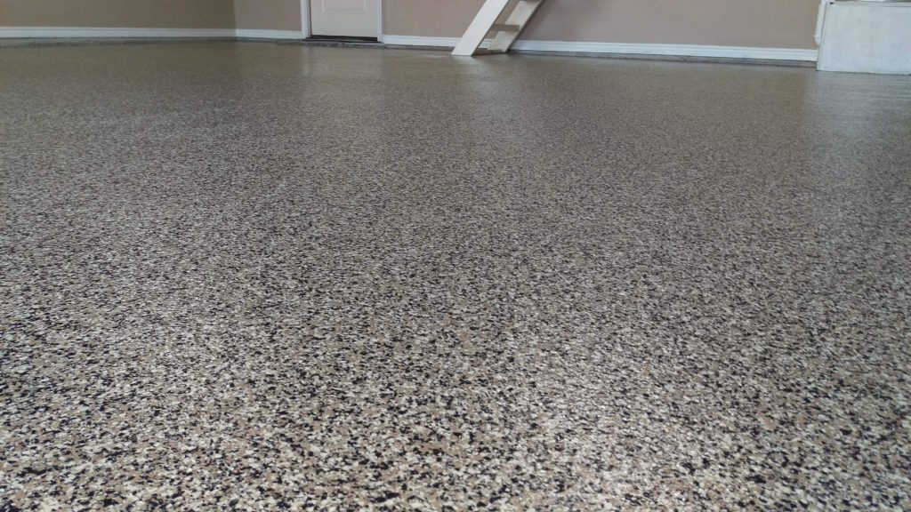 Our 1 Day Coatings product is designed to be installed in as little as one day! This image shows our Chip Flake system installed on a garage floor for superior protection and performance.