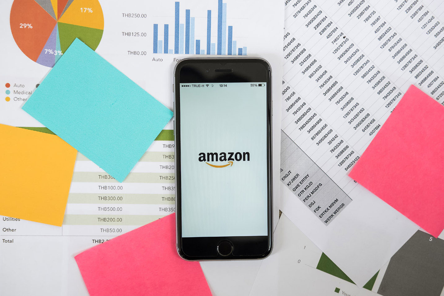 amazon app with graphs and charts