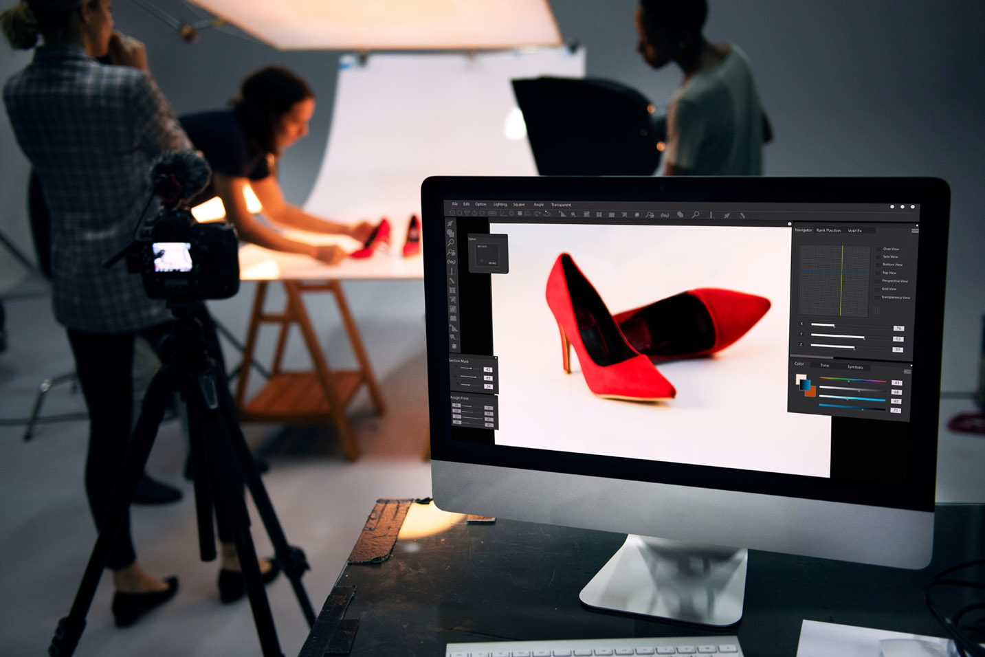 professional product photography setup of shoes