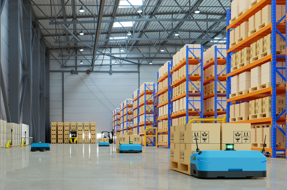 warehouse with robots