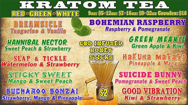DRIP Botanical Tea Bar Kratom Drink Menu