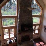 Lovely rock fireplace
