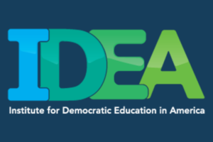 Idea in greens and blues with the text Institute for Democratic Education in America written below.
