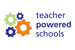 Purple, green, and orange gears next to the name, Teacher Powered Schools