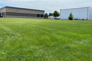 Large open green field behind Milestone Democratic school building.