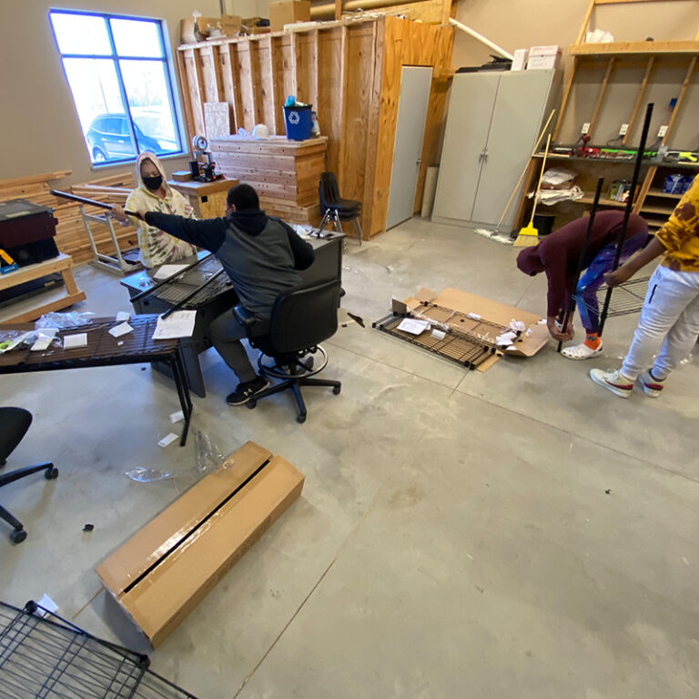 Students in the maker space during class.
