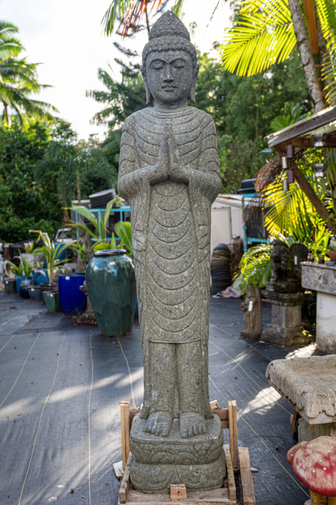 large standing stone buddha garden statue