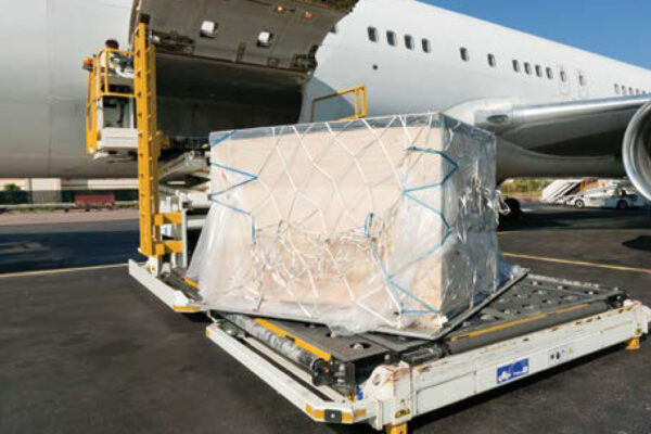 Cargo being loaded onto plane