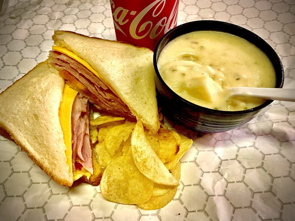 Fresh made Ham Sandwich with a side of soup