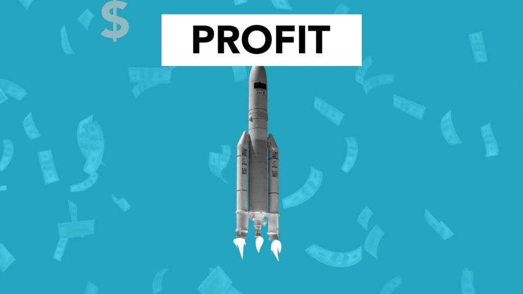 """graphic depicting a rocket with the word """"profit"""""""