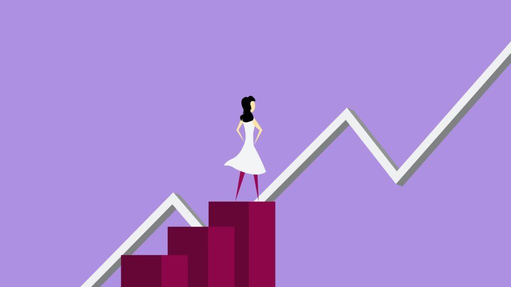 Graphic depicting a woman looking a chart