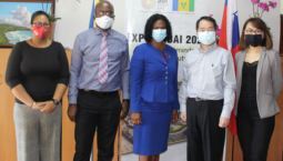 (Left-Right): Nadine Agard-Juillerat, Deputy Executive Director; Peter Edward, Export Development Manager; Annette Mark, Executive Director;  H. E. Calvin Ho, Ambassador, Embassy of the Republic of China (Taiwan); Grace Chang, Counsellor, Embassy of the Republic of China(Taiwan).
