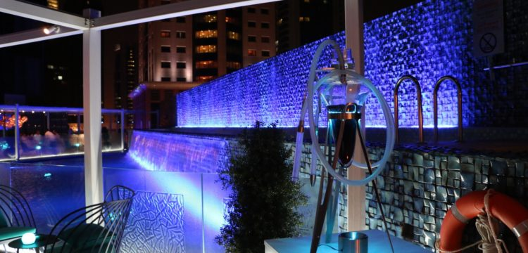 Wet Deck at night - W Doha