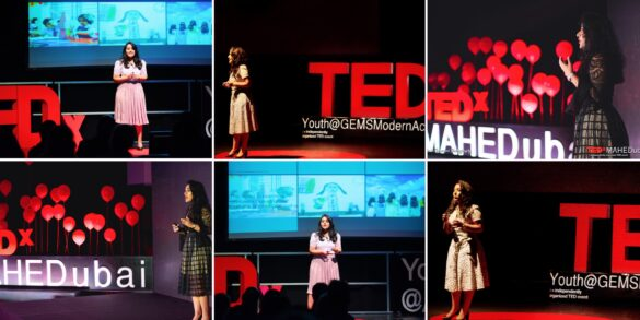 A Collage of Naomi DSouzas giving 3 TED talks