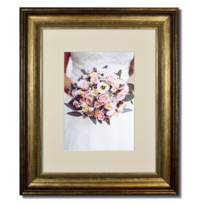 Champagne Beaded Frame with Soft White Mat