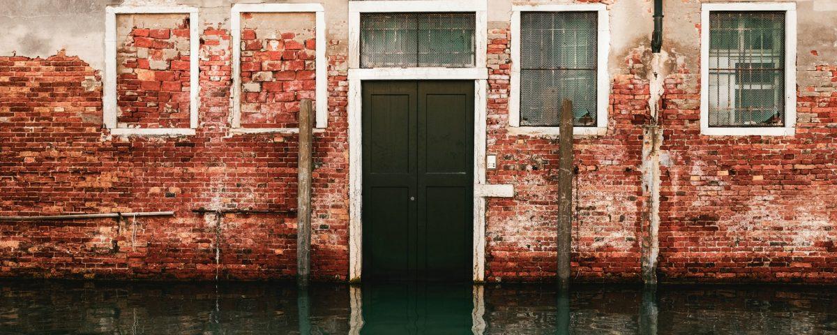 door in front of water