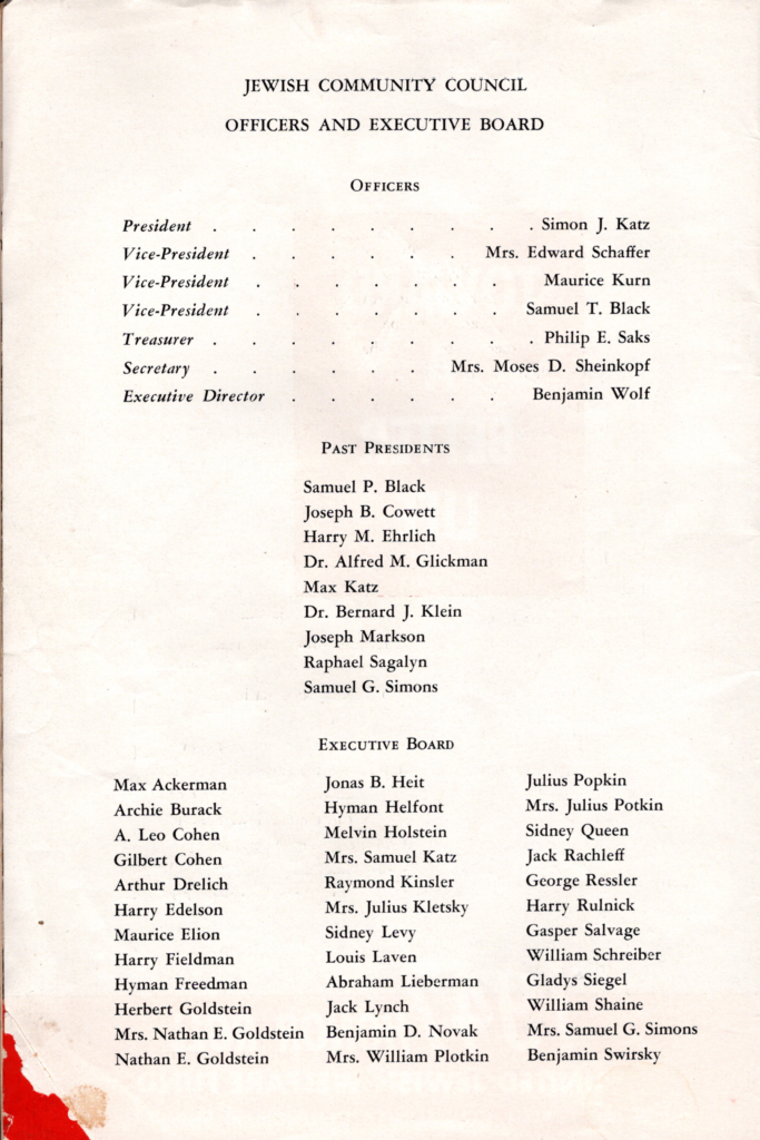 Officers of the Jewish Welfare Fund, 1947