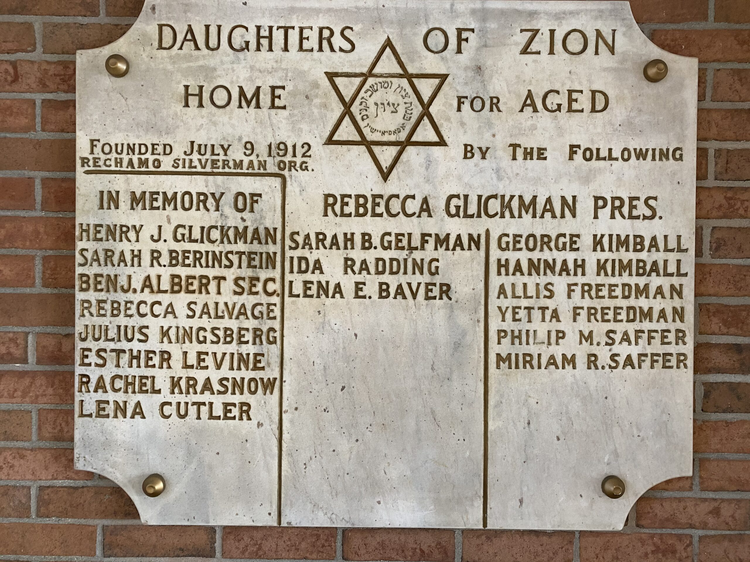 Daughters of Zion Plaque