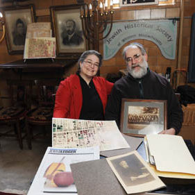 Jane Trigere and Ken Schoen of the Jewish Historical Society of Western Massachusetts located in the old fire staition in South Deerfield. 09/02/25 Franz