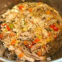 """Once cook time is complete, quickly release pressure (QPR). Do this by carefully opening the vent knob - on the Instant Pot, turn the vent knob to """"venting"""". Open the lid, gently fluff the rice with a fork, combining all ingredients."""