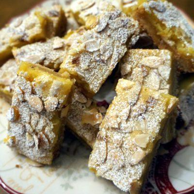 lemon toasted almond shortbread bars