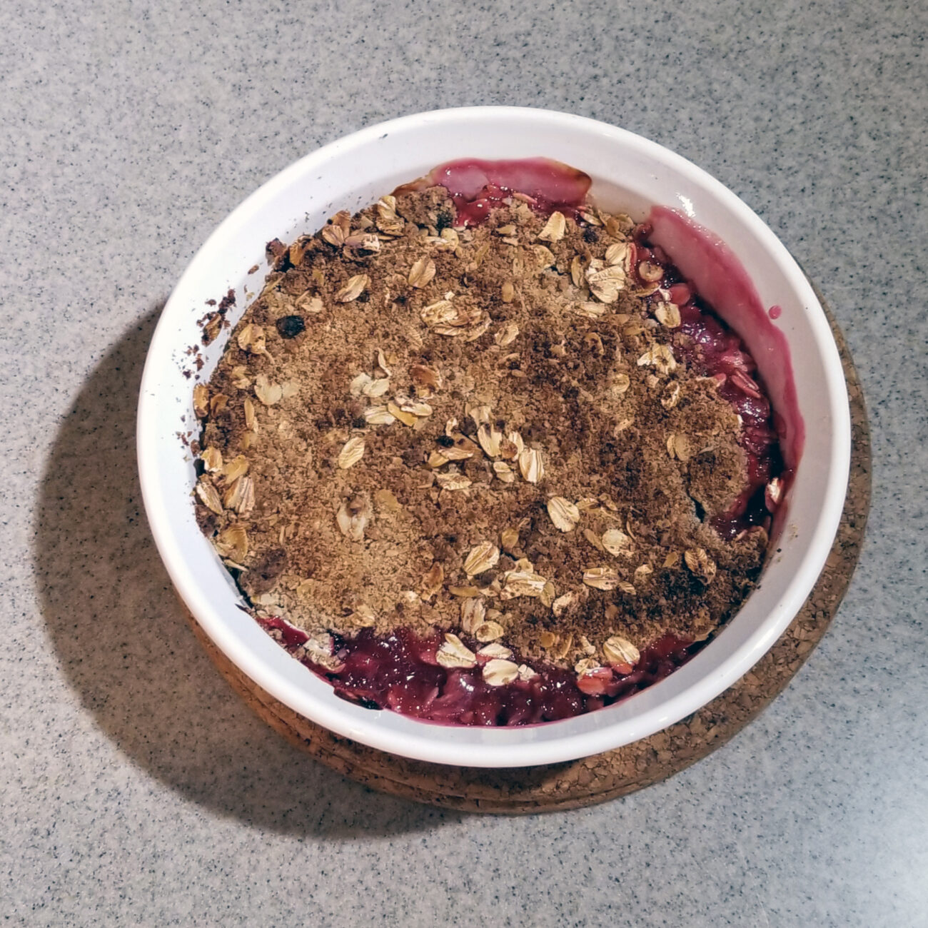 Gooseberry and Blackcurrant Crumble
