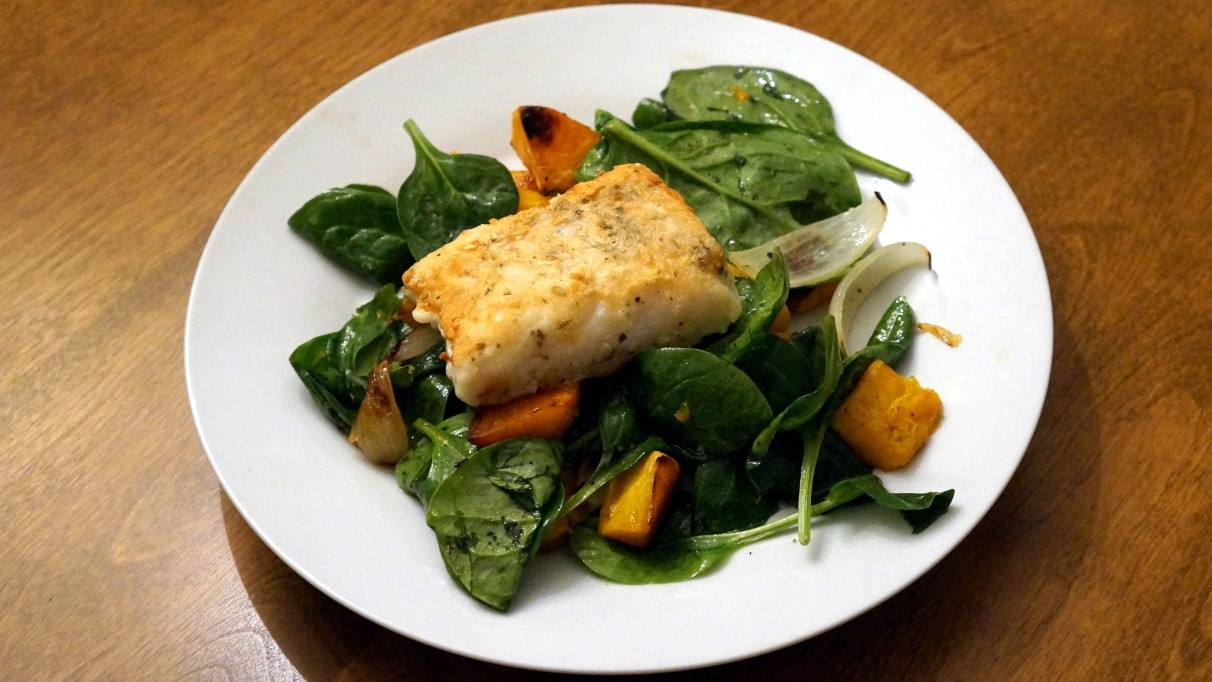 Cod with winter roasted vegetables