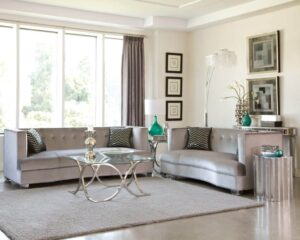 caldwell sofa set silver glamour