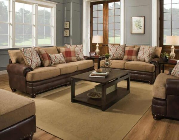 Textures and prints meet in the Yellowstone Chocolate Sofa Set, giving you a rustic feel no matter where you are. The leather base is the perfect contrast.