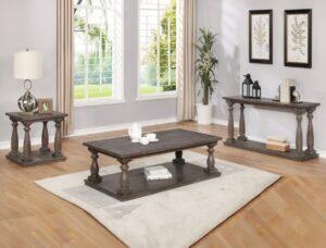 regent occasional table set rustic