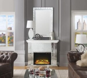 Bling Electric Fireplace crystal mirrored
