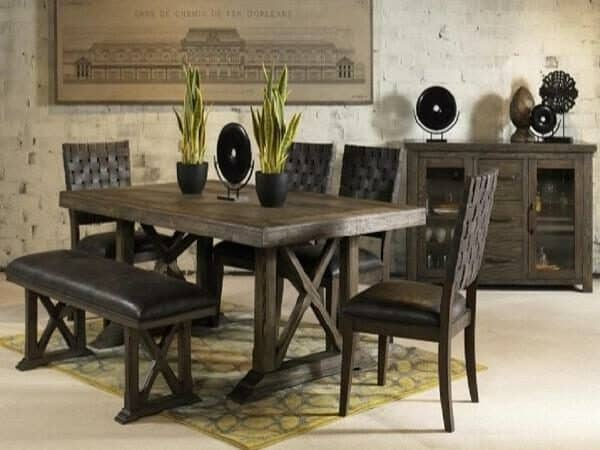 lawton rustic dining set with bench