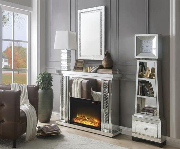 Nysa electric fireplace glamorous bling mirror