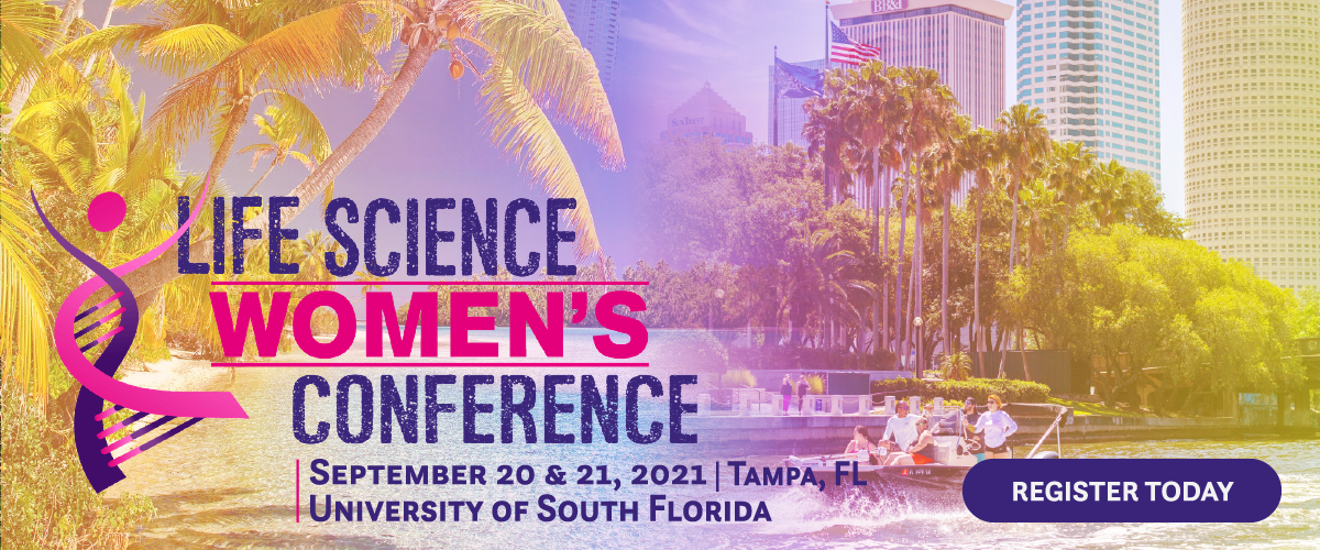 """A rainbow-tinted, bright gradiented banner featuring Tampa, Florida. Palm trees arc inward on the left, fading into water and the city. A family drives a boat on the button right through the riverway of downtown. The Life Science Women's Conference logo reads on the left, with the dates """"September 20 & 21, 2021"""" below at the University of South Florida. The text is purple. On the right is a """"register today"""" button."""