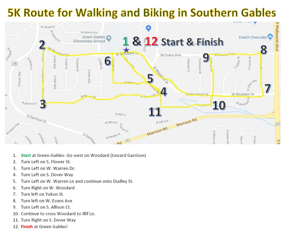 Southern Gables 5K Route