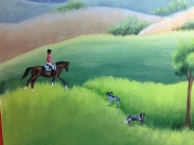 Horse rider dogs