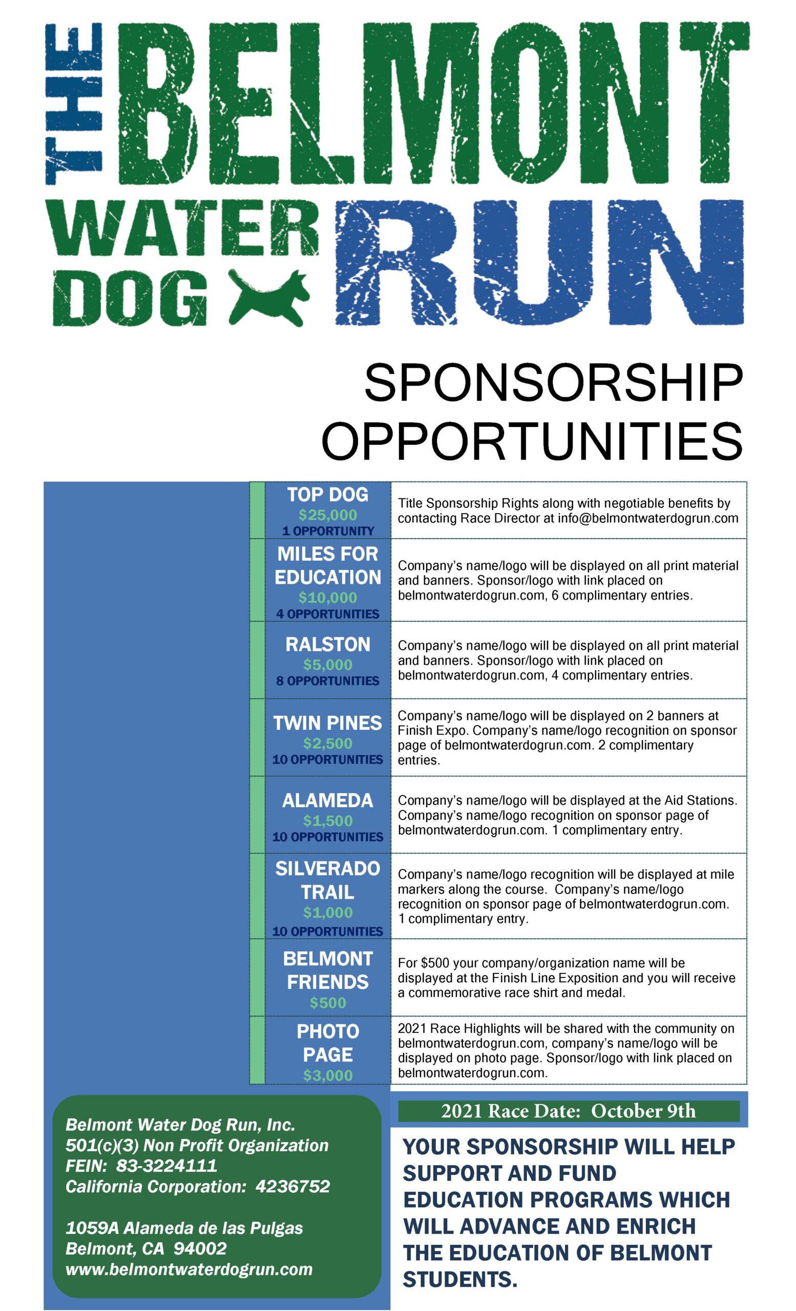 Belmont Water Dog Run Sponsorship 2021