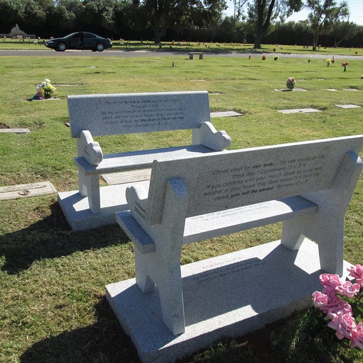 Engraved Private Cemetery Benches Granite