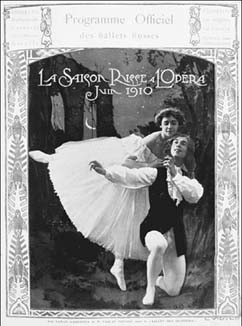 Program featuring Vaslav Nijinsky and Tamara Karsavina. By the end of the nineteenth century, tights were a standard part of the male dancer's ensemble due to the great range of motion they offered.