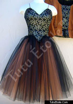 Black Copper and Brocade Gored Skirt