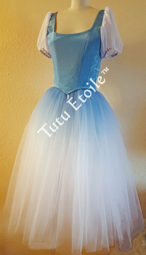 Blue ombre with attached puff sleeves